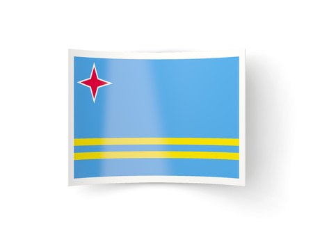 bent: Bent icon with flag of aruba isolated on white