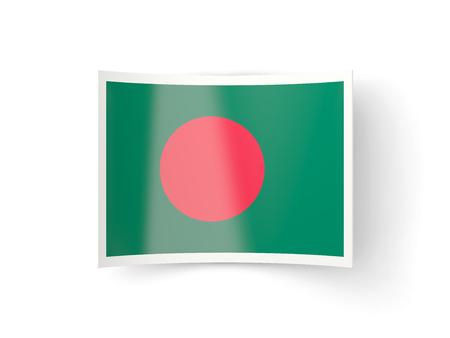 national flag bangladesh: Bent icon with flag of bangladesh isolated on white