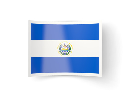 el salvador: Bent icon with flag of el salvador isolated on white Stock Photo