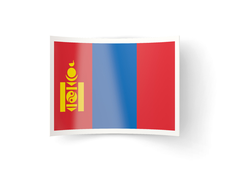 bent: Bent icon with flag of mongolia isolated on white
