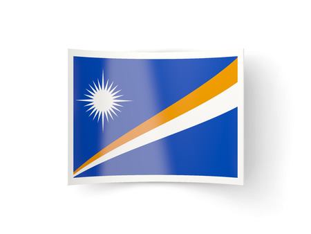 marshall: Bent icon with flag of marshall islands isolated on white Stock Photo