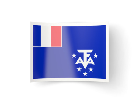 bent: Bent icon with flag of french southern territories isolated on white