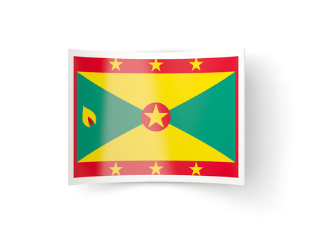 grenada: Bent icon with flag of grenada isolated on white Stock Photo