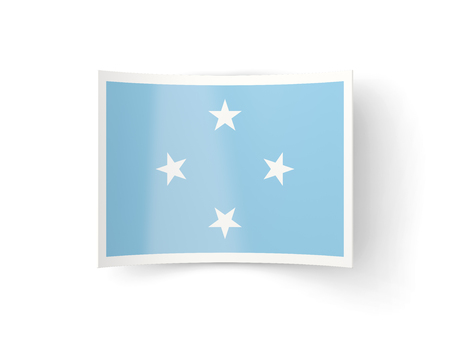 bent: Bent icon with flag of micronesia isolated on white