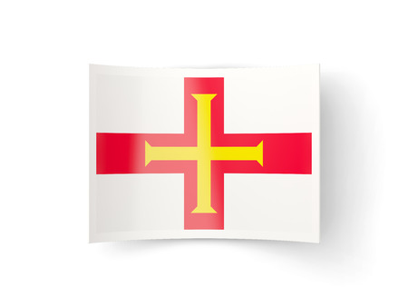 guernsey: Bent icon with flag of guernsey isolated on white Stock Photo