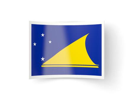 tokelau: Bent icon with flag of tokelau isolated on white
