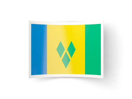 grenadines: Bent icon with flag of saint vincent and the grenadines isolated on white