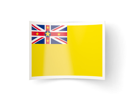 niue: Bent icon with flag of niue isolated on white