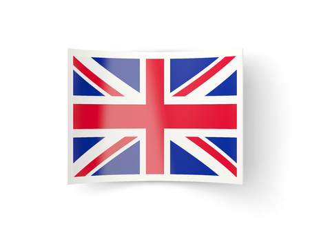 bent: Bent icon with flag of united kingdom isolated on white Stock Photo