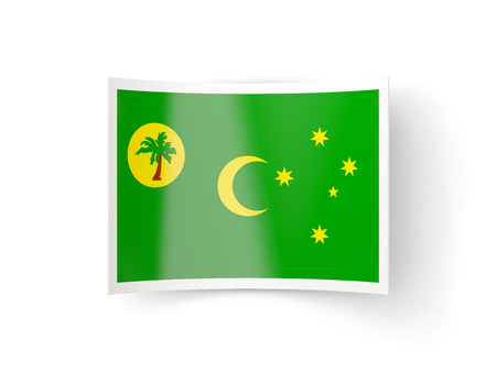bent: Bent icon with flag of cocos islands isolated on white