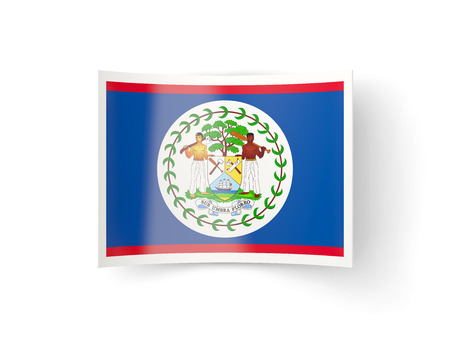 belize: Bent icon with flag of belize isolated on white Stock Photo