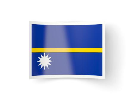 bent: Bent icon with flag of nauru isolated on white