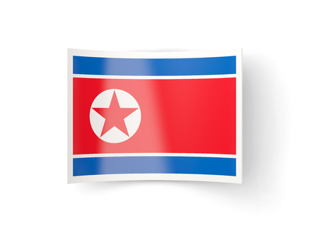 bent: Bent icon with flag of korea north isolated on white