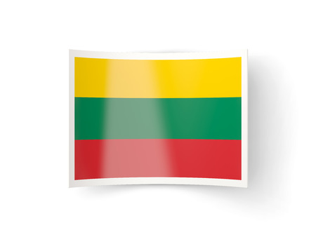 bent: Bent icon with flag of lithuania isolated on white Stock Photo