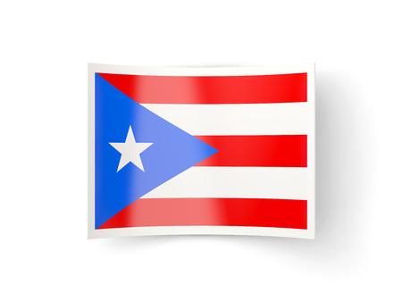 bandera de puerto rico: icono doblada con la bandera de Puerto Rico aislado en blanco