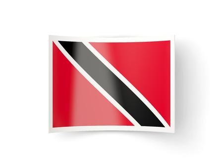 national flag trinidad and tobago: Bent icon with flag of trinidad and tobago isolated on white