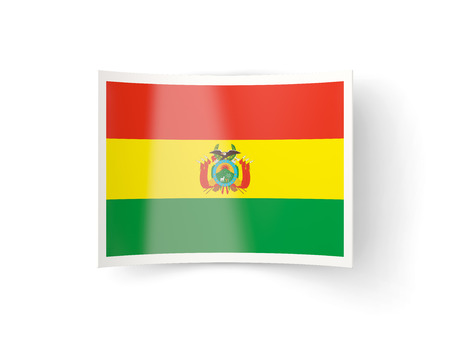 bent: Bent icon with flag of bolivia isolated on white Stock Photo