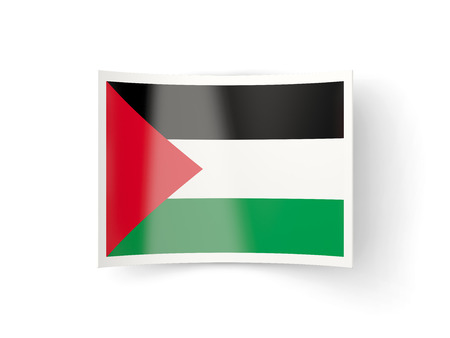 palestinian: Bent icon with flag of palestinian territory isolated on white Stock Photo