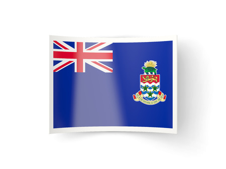 cayman islands: Bent icon with flag of cayman islands isolated on white