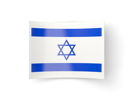 bent: Bent icon with flag of israel isolated on white Stock Photo