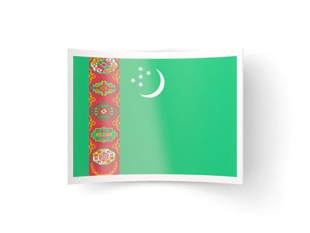 bent: Bent icon with flag of turkmenistan isolated on white Stock Photo