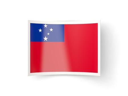 samoa: Bent icon with flag of samoa isolated on white Stock Photo
