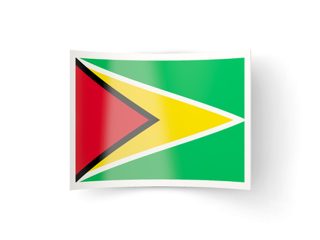 guyana: Bent icon with flag of guyana isolated on white Stock Photo