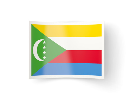 bent: Bent icon with flag of comoros isolated on white Stock Photo
