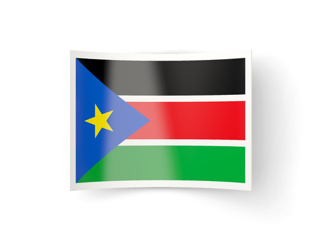 south sudan: Bent icon with flag of south sudan isolated on white