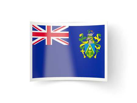 pitcairn: Bent icon with flag of pitcairn islands isolated on white