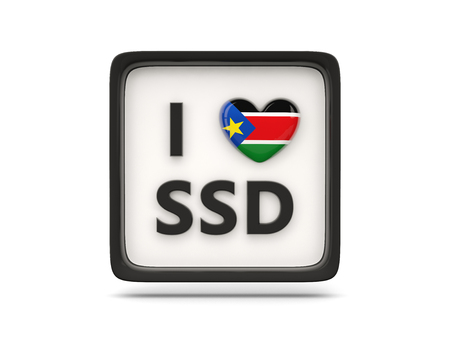 south sudan: I love south sudan sign isolated on white