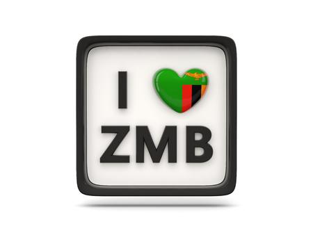 zambia: I love zambia sign isolated on white