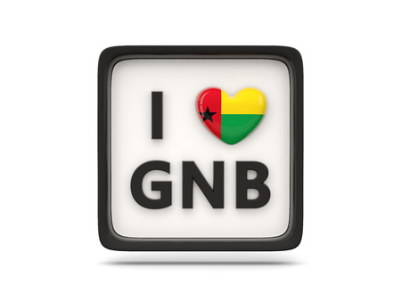 guinea bissau: I love guinea bissau sign isolated on white Stock Photo
