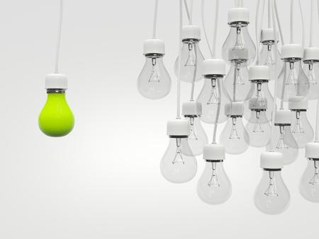 green light bulb: Green light bulb with regular light bulbs