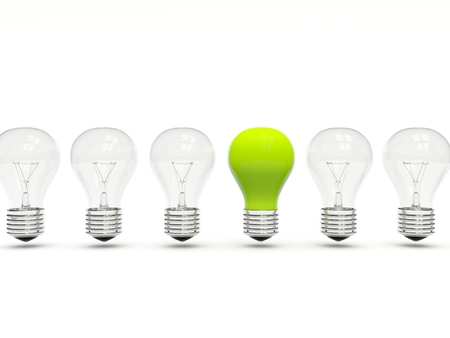 Green light bulb in a row isolated on white