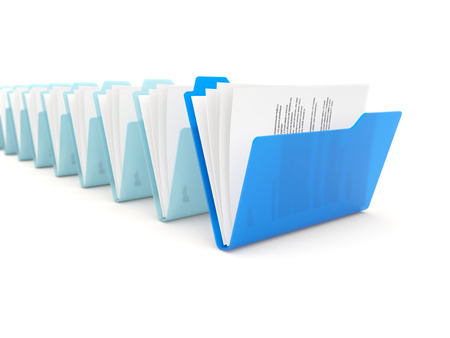 row: Blue folder in a row isolated on white background