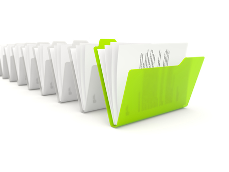 file folder: Green folder in a row isolated on white background Stock Photo