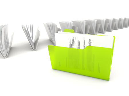 row: Green folder in a row isolated on white background Stock Photo
