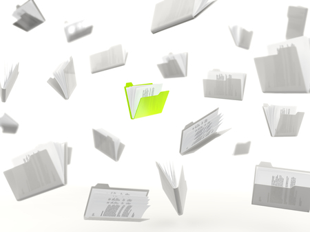 in a row: Green folder in a row isolated on white background Stock Photo