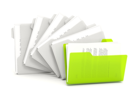 row: Green folders in a row isolated on white Stock Photo
