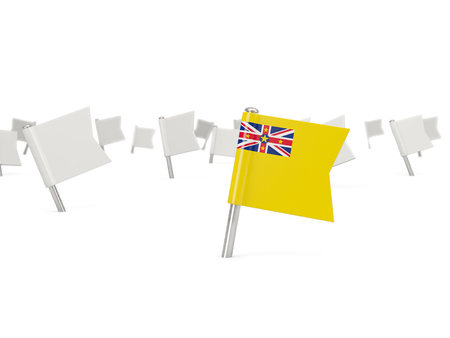 niue: Square pin with flag of niue isolated on white