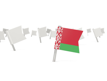 belarus: Square pin with flag of belarus isolated on white Stock Photo