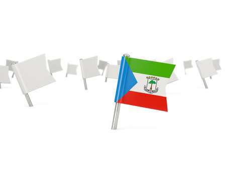 equatorial guinea: Square pin with flag of equatorial guinea isolated on white Stock Photo