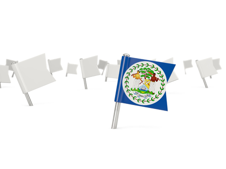 belize: Square pin with flag of belize isolated on white Stock Photo