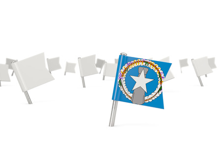 mariana: Square pin with flag of northern mariana islands isolated on white