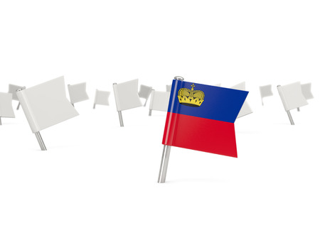 liechtenstein: Square pin with flag of liechtenstein isolated on white