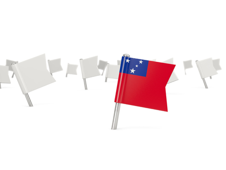 samoa: Square pin with flag of samoa isolated on white Stock Photo