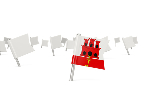 gibraltar: Square pin with flag of gibraltar isolated on white