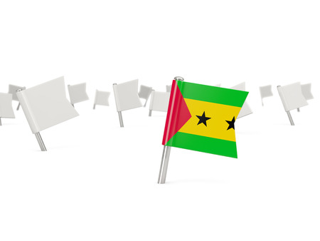 principe: Square pin with flag of sao tome and principe isolated on white
