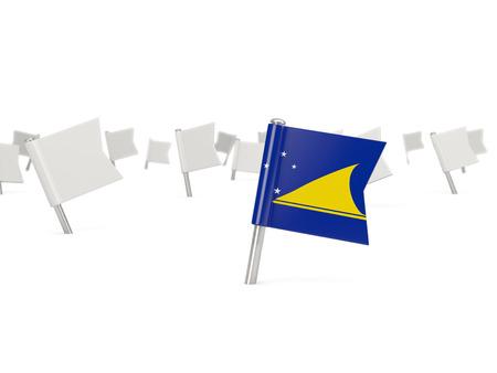 tokelau: Square pin with flag of tokelau isolated on white Stock Photo